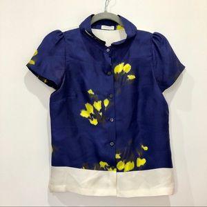 Dries Van Noten Sz 36 blue blouse floral blouse